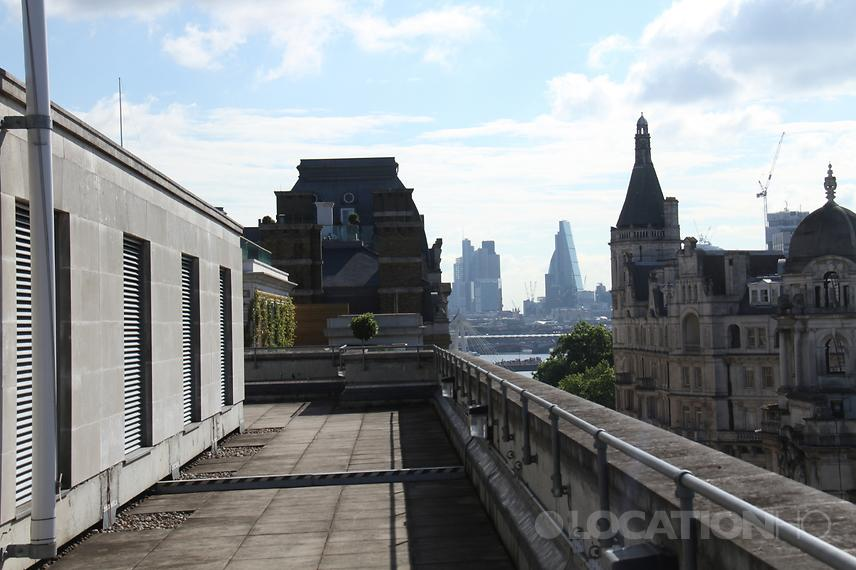 View to central London skyline for filming