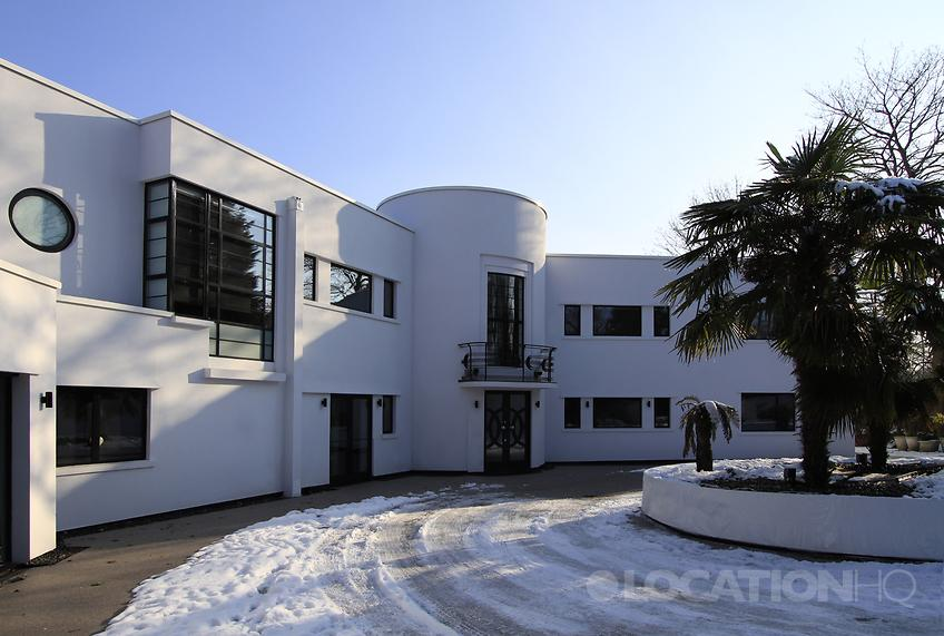 White Art Deco House Filming